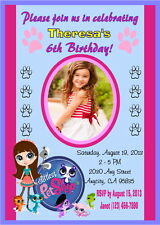 LITTLEST PET SHOP CUSTOM PRINTABLE BIRTHDAY PARTY INVITATION & FREE THANK U CARD