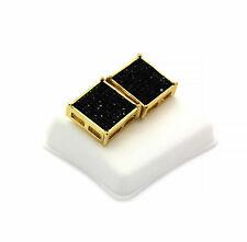 Mens Gold Plated Iced Out Black Cz TC Square Earrings 10 Row Micro Pave Hip-Hop