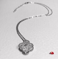 Van Cleef Alhambra Inspired Pendant Necklace with Pavé CZ setting