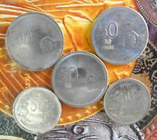 5 pcs YEAR SET - 2008 2009 2010 2011 2013 - Steel  50 Paise Coin