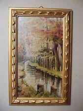 Rivière : peinture à l'huile des années 1960 - cadre Montparnasse - SIRONIC