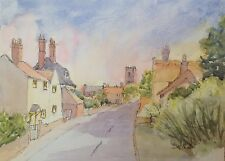Village High Street -  Original Pen & Watercolour Painting Signed By Artist