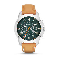 Fossil Men's FS4918 Grant Chronograph Green Dial Tan Leather Watch