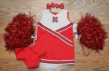 NEBRASKA HUSKERS CHEERLEADER COSTUME OUTFIT HALLOWEEN 24 MTHS 2T POM POMS SET