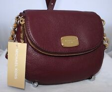 NEW MICHAEL KORS BEDFORD MERLOT LEATHER FLAP CROSSBODY SHOULDER BAG PURSE