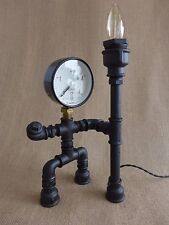Pipe art lamp steampunk lamp wooden base warrior industrial table loft lamp