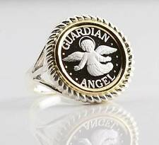 .999 PURE SILVER Guardian Angel Coin Two-Tone S/S + 14kt Gold Ring sizes 5-7 1/2