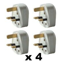 4 x Standard UK 3 Pin 13A 13 Amp Fused Mains Plug Tops BS1363/A Standard RoHS