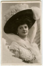 c 1908 French Fashion Young LADY in BIG HAT tinted photo postcard