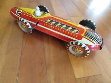 "Antique Marx 1950s Indy race car tin litho wind up ok with driver toy 16.5"" Long"