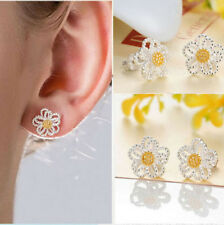 New Womens Jewelry 925 Sterling Silver Sunflower Girls Pierced Ear Stud Earrings