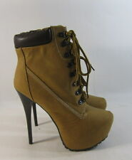 "Wheat/Brown 6.5""Stiletto high heel 2""platform  lace up sexy ankle boots size 9"