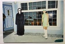 Vintage PHOTO Scary Ghost w/ Hippie Girl On Halloween