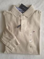 $60 NWT Mens Tommy Hilfiger Classic Fit Long Sleeve Mesh Polo Shirt Beige M