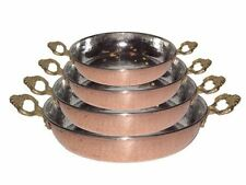 Copper Saute Pan Roasting Pan Turkish Hand Made Hammered Thick  Set of 4 Pieces