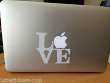 2 x LOVE stickers / decals ideal for a MAC BOOK / AIR