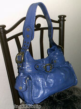 Gianni Bini Coronado Blue Patent Leather Buckled Accent Purse/Shoulder Bag/Hobo