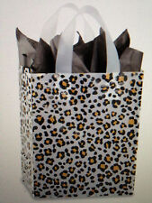 """X50 Preprinted Frosty Gift Bags Leopard Print,  8X5X10"""" 4 MIL THICK"""