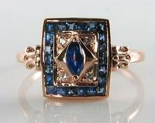 CLASSIC  9K 9CT  ROSE GOLD Sri Lankan BLUE SAPPHIRE & DIAMOND DECO INS RING