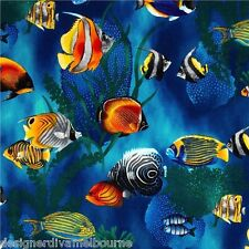 Novelty Cotton Fabric-Tropical Fish , F/Q or YRD