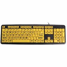 Large Print USB Elderly Computer Keyboard High Contrast Yellow Keys Black Letter