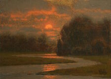 ORIGINAL LUMINOUS TONALIST SUNSET LANDSCAPE OIL PAINTING ANTIQUE STYLE MAX COLE