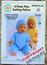DOLLS KNITTING PATTERN FOR BABY BORN 16/17ins doll No 294 - by Val Young