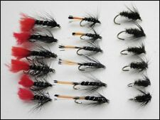 18 Wet Trout Fly, Fishing Flies Black/Peacock, Black Pennell and Zulu - Mixed