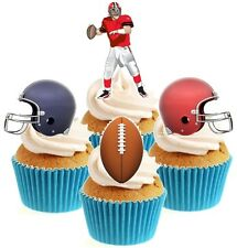 Novelty American Football Mix 12 Edible Stand Up wafer paper cake toppers