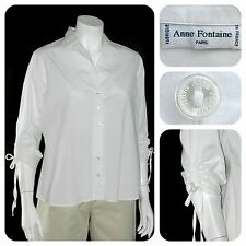 "ANNE FONTAINE Paris made in France - White cotton spandex ""Annika"" blouse - M"