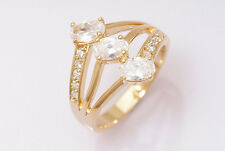10k Yellow Gold Filled White Sapphire Women Jewelry Ring Size7.5 P179