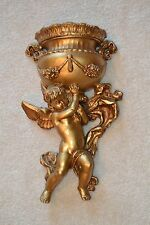 "15""x 9 Vintage Gold/Brass Syroco Angel/ Cherub/ Cupid Wall Accent/ Decor Planter"