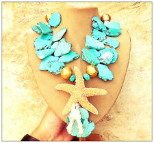 TURQUOISE BLUE STATEMENT NECKLACE SLAB Huge Big JEWELRY Real Starfish Coral XL