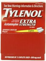3 Pack Tylenol Extra Strength 50 packets of 2 tablets 500mg. 100 Tablets Per Box