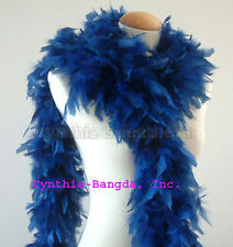 """65g 72"""" long DaRk CoUnTry BLue Chandelle feather boa, exotic color nowhere else"""