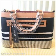 River Island NEW Black And Tan Woven Detail Shopper Tote Handbag 695426 RRP £45