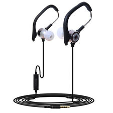 3.5mm In Ear Clip On Sport W/ Mic Stereo Earphone Jogging Headphone GRAY