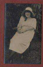 Young Lady hat long hair holding flowers vintage photograph pc    qk69