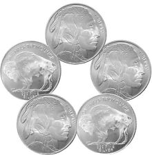 1/2 oz HM Buffalo Silver Rounds - 2.5 oz Total .999 fine (New, Lot of 5)