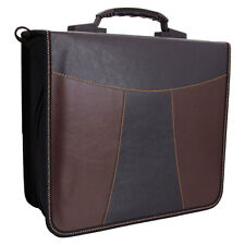 240 Disc Faux Leather Patchwork CD DVD Storage Bag Holder Case Black &Brown