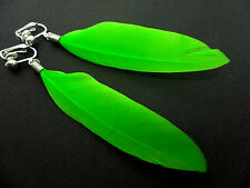 A PAIR OF LONG GREEN FEATHER  DANGLY CLIP ON  EARRINGS.