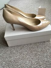 JIMMY CHOO 'IRENA' NUDE PATENT COURT HEELS SHOES PUMPS Uk 7.5 Eu 40.5 Current