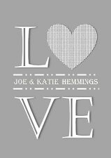 Wedding day gift Personalised love heart print a4 valentines day anniversary