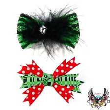 BRET MICHAELS HAIR BOWS FOR PETS DOG CAT 2 PAIR CHRISTMAS