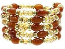Brown And Topaz Glass Bead Gold Tone Bead Spring Coil Bangle Bracelet