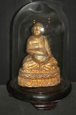 Glass Dome with ANTIQUE Buddha monk Gilded Gold gilt gilding cloche vintage OLD