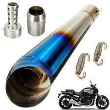 38-51mm Motorcycle GP Stainless Exhaust Muffler Pipe Tip Slip Street Bike Blue