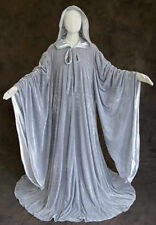 Grey Velvet Robe Wizard Cloak Wicca LOTR LARP Gandalf Hobbit Costume