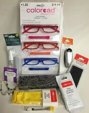 3 Pack Foster Grant Coloread Reading Glasses +1.25 & Accessories Set New