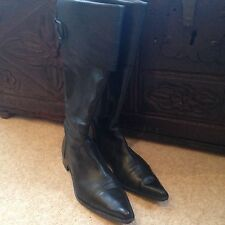 Knee High Leather Boots, Black, Size 39 -UK 6